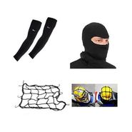 Combo Of Universal Cargo Bungee Net + Full Face Mask + Arm Sleeve For Bike & Scooter