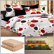 Storyathome 8 Pcs Combo Of Premium Quality Cotton Double Bedsheet, 3D Print Double Bedsheet And Cotton Bath Towels-CR_1409-PC1407-TW_2-1216-X