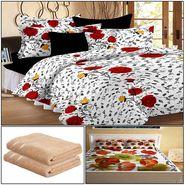 Storyathome 8 Pcs Combo Of Premium Quality Cotton Double Bedsheet, 3D Print Double Bedsheet And Cotton Bath Towels-CR_1410-PC1408-TW_2-1216-X