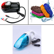 Combo of Vacuum Cleaner + Air Compressor + Micro Fiber Glove
