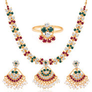 Sukkhi Paisley Gold Plated AD Necklace Set