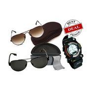 Combo of 2 Sensation Rich Look Aviator Sunglasses + Titanium Sport Watch