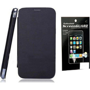 Combo of Camphor Flip Cover (Black) + Screen Guard for Micromax A61