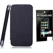 Combo of Camphor Flip Cover (Black) + Screen Guard for Xolo A500s