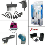 Combo of 10 in 1 Travel Charger + Quantum Earphone + Mobile Speaker + All-In-One Card Reader + 3.5 mm Aux Cable