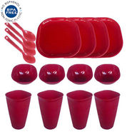 16 Pcs Microwaveable Designer Square Dinner Set