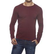 Delhi Seven Full Sleeves Round Neck Cotton T Shirt For Men - Maroon