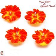 Orange & Yellow Flower Candle Diyas- Set of 4