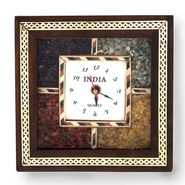 Little India Antique Handcrafted Gemstone Wooden Wall Clock 189
