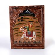 Little India Hand Carved Dhola Maru Painted 4 Key Wooden Stand 297