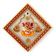 Little India Gold Meenakari Lord Ganesha Marble Hanging Plate 378