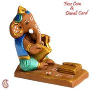 Aapno Rajasthan Multicolor Terracotta Panchmukhi Ganesh with 1 Diya