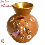 Aapno Rajasthan Multicolor Terracotta Ganesh with Tabla Showpiece