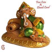 Aapno Rajasthan Multicolor Terracotta Ganesh Sitting on Moon Showpiece