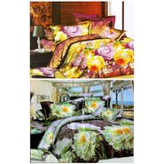 Set of 2 Floral 3D Printed Bedsheet with 4 Pillow Covers-DWCB-462_68