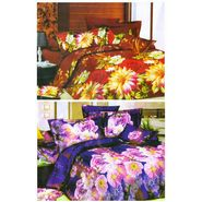 Set of 2 Floral 3D Printed Bedsheet with 4 Pillow Covers-DWCB-485_86