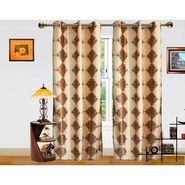 DEKOR WORLD DAMASK BROWN EYELET Window Curtain 2 SET-DWCT-306-5