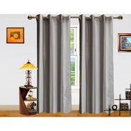 Silver Stripe Pattern  Eyelet Window Curtain-Pack Of 2 -DWCT-375-5