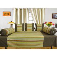 Dekor World Multi Stripe Diwan Set-Pack of 6 Pcs-DWDS-0104