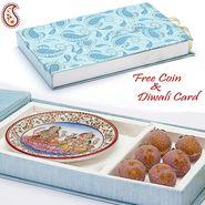 Gift Box with Kaju Lichees and Laxmi Ganesh Plate_DWMB1406