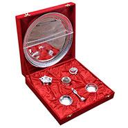 Rangsthali Designer Silver Plated 7 Pcs Puja Thali Set