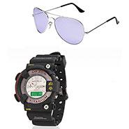 Combo of Dezine Wrist Watch + Aviator Sunglass_CMB01-WHT-PRP