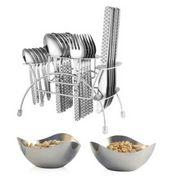 Elegante' 24 Pcs. Blossom Knife Cutlery Set(Gracia) + 2 Pcs. Steel Bowl Set Free EHPECBB0002