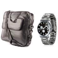Fidato Laptop Bag + Fidato Men's Steel Watch