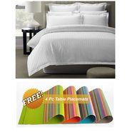 Storyathome White Satin Stripes King Size 1 Bedsheet + 2 Pillow Cover -FE2056_TT