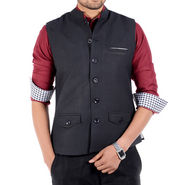 Forge Blended Wool Sleeveless Nehru Jacket For Men_eco-7 - Black