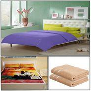 Storyathome 8 Pcs Combo Of Premium Quality Cotton Double Bedsheet, 3D Print Double Bedsheet And Cotton Bath Towels-FS_1205-PC1411-TW_2-1216-X