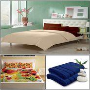 Storyathome 8 Pcs Combo Of Premium Quality Cotton Double Bedsheet, 3D Print Double Bedsheet And Cotton Bath Towels-FS_1206-PC1401-TW_2-1207-X