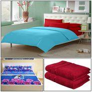Storyathome 8 Pcs Combo Of Premium Quality Cotton Double Bedsheet, 3D Print Double Bedsheet And Cotton Bath Towels-FS_1209-PC1409-TW_2-1215-X