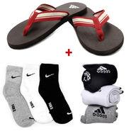 Adidas EVA Red Mens Slipper With Free Socks-ad05