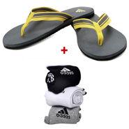 Adidas EVA Yellow Mens Slipper With Free Socks -ad04