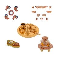 Diwali Special Combo of Ganesha Chowki, Shubh Diwali Set, German Silver Pooja Thali, Chopra and Rangoli-GIFTHAM115