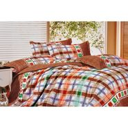 Angelic Check With Love Print Double Bed Sheet - GO-002