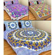 GRJ India Pure Cotton Multi Colour 3 Double BedSheet With 6 Pillow Covers-GRJ-3DB-69BL-68PL-70BL