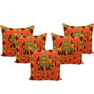 GRJ India Traditional Kantha Work  Elephant Print Cushion Cover Set-5 pcs-GRJ-CC-5P-20