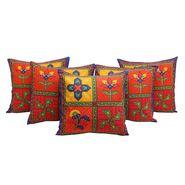GRJ India Traditional Kantha Work Rajasthani Floral Print Cushion Cover Set-5 pcs-GRJ-CC-5P-39