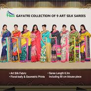 Gayatri Collection of 9 Art Silk Sarees by Pakhi (9A1)