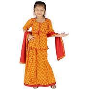 Little India Girls Traditional Sanganeri Red Lehanga Choli - DLI3GED101B