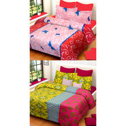 Set of 2 IWS Cotton Printed Double Bedsheet with 4 Pillow Covers-CB1338