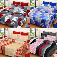 Set of 4 IWS Cotton Printed Double Bedsheet with 8 Pillow Covers-CB1445