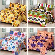 Set of 4 IWS Cotton Printed Double Bedsheet with 8 Pillow Covers