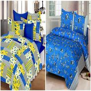 Set of 2 IWS Cotton Printed Double Bedsheet with 4 Pillow Covers