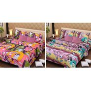 IWS Set of 2 Designer Cotton kids Double Bedsheet with 4 Pillow cover IWS-CCB-23