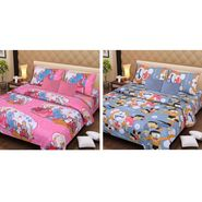 IWS Set of 2 Designer Cotton kids Double Bedsheet with 4 Pillow cover IWS-CCB-35