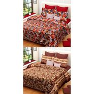 Set of 2 Printed  Double Bedhseets With 4 Pillow Covers-IWS-NPrinted-11
