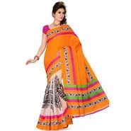 Ishin Bhagalpuri Silk Saree - Orange